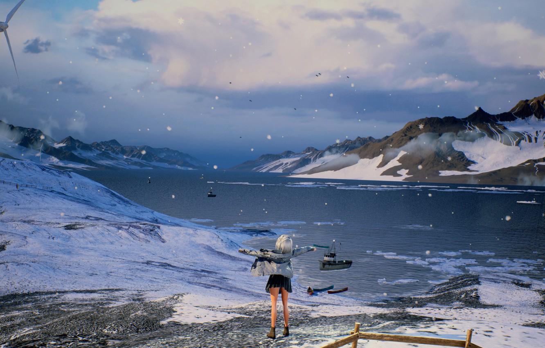 Фото обои девушка, снег, горы, природа, озеро, by rengreng