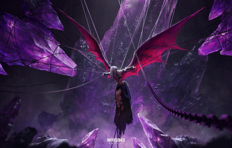 Фото обои пещера, цепи, демонесса, распятие, подземелье, рваная одежда, жертвоприношение, крылья летучей мыши, by Aqritz