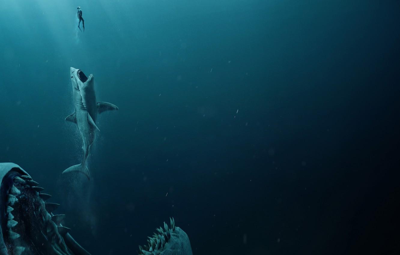 Фото обои man, shark, jaws, The meg, Megalodon