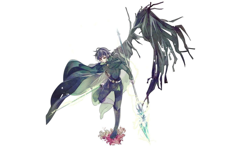 Фото обои крылья, демон, копьё, Owari no Seraph, Последний серафим, Юичиро Хакуя, Hyakuya Yuuichiro