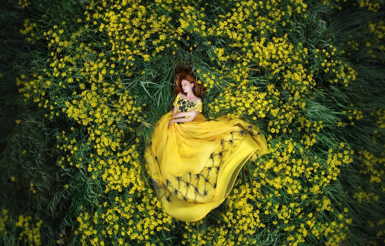 Фото обои цветы, природа, Девушка, платье, лежит, Мария Липина