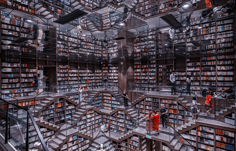 Фото обои книги, библиотека, зеркала, books, library, mirrors, Prasad Ambati