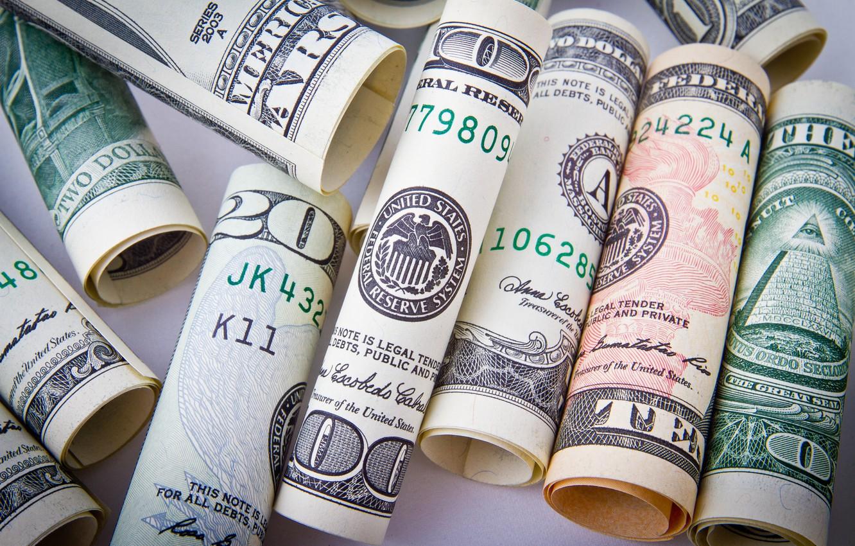 Фото обои Wallpaper, Money, Dollars, Macro, Banknotes