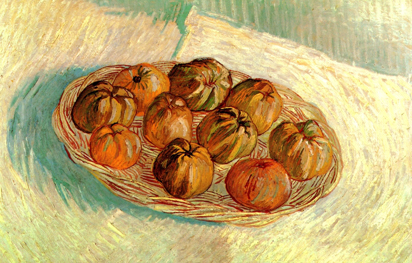 Фото обои Vincent van Gogh, Basket of Apples, to Lucien Pissarro, Still Life with