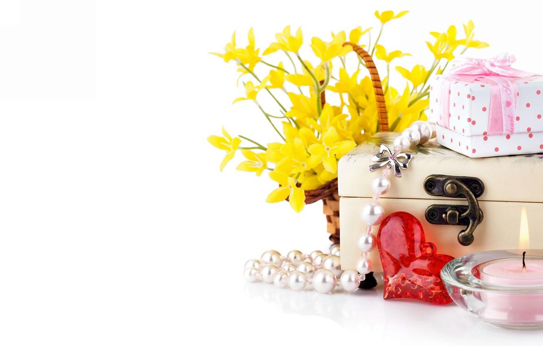 Фото обои цветы, свеча, букет, подарки, сердечко, коробки