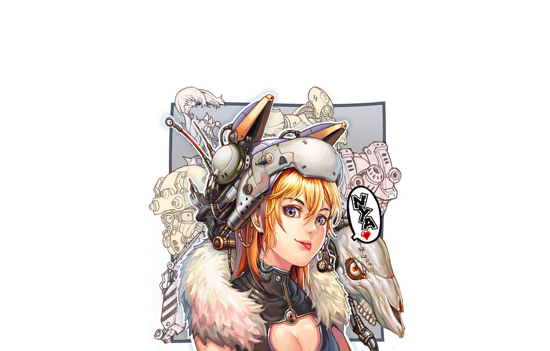 Фото обои Girl, skull, minimalism, blue eyes, blonde, digital art, artwork, fantasy art, helmet, tongue, white background, …