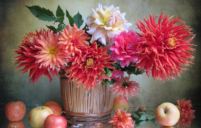 Фото обои цветы, яблоки, фрукты, георгины, кашпо