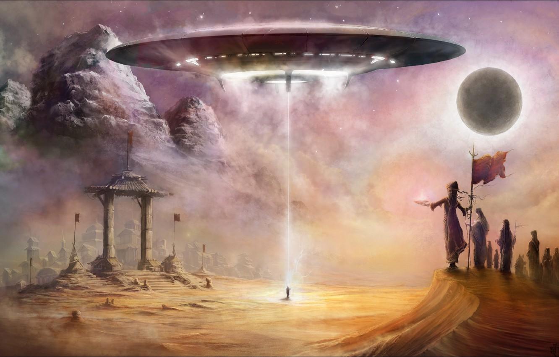 Фото обои fantasy, Art, fantastic, UFO