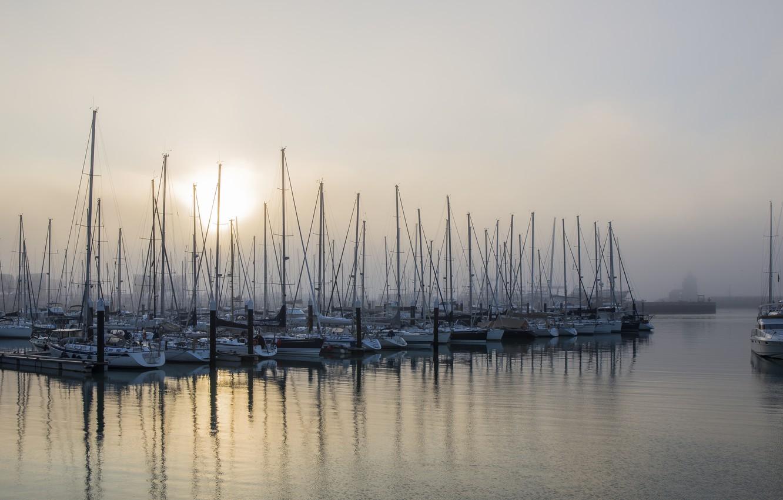 Фото обои туман, лодки, порт