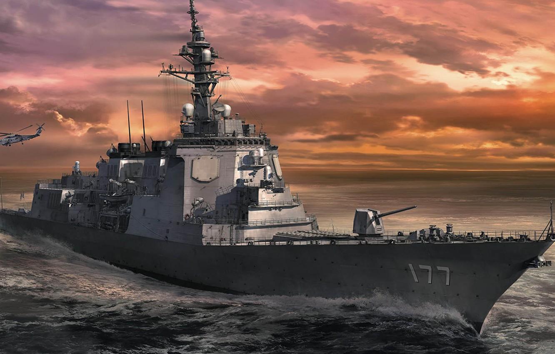 Фото обои Морские силы самообороны Японии, Эскадренный миноносец «Атаго», с управляемым ракетным оружием, JMSDF DDG Atago