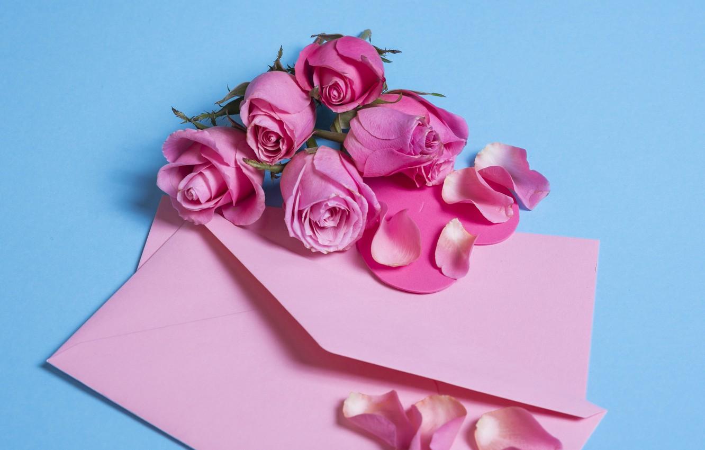 Фото обои цветы, розы, лепестки, розовые, pink, flowers, beautiful, romantic, конверт, petals, roses
