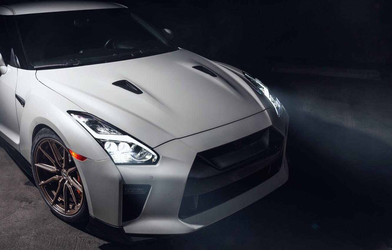 Фото обои GTR, Japan, Nissan, Lights, White, Smoke, R35, Sight