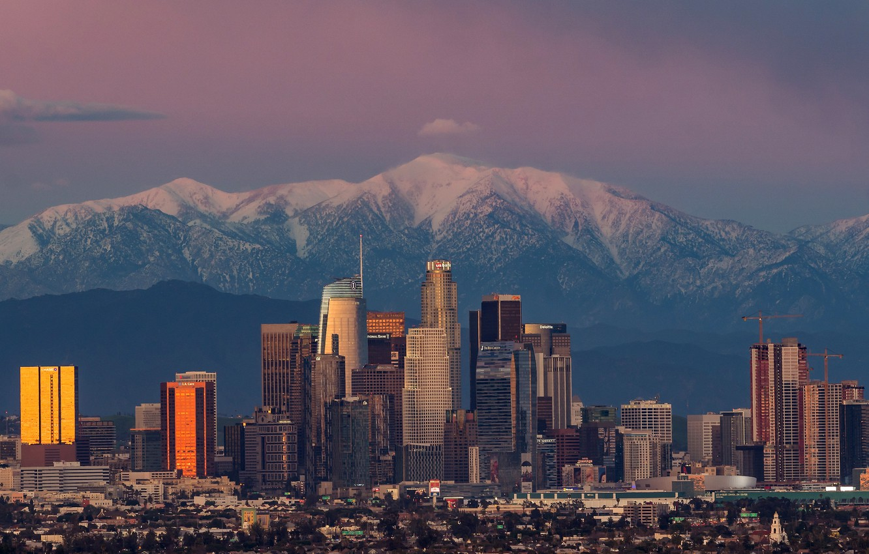 Фото обои небо, солнце, пейзаж, закат, горы, дома, вечер, Калифорния, панорама, США, небоскрёбы, Лос-Анджелес, Los Angeles