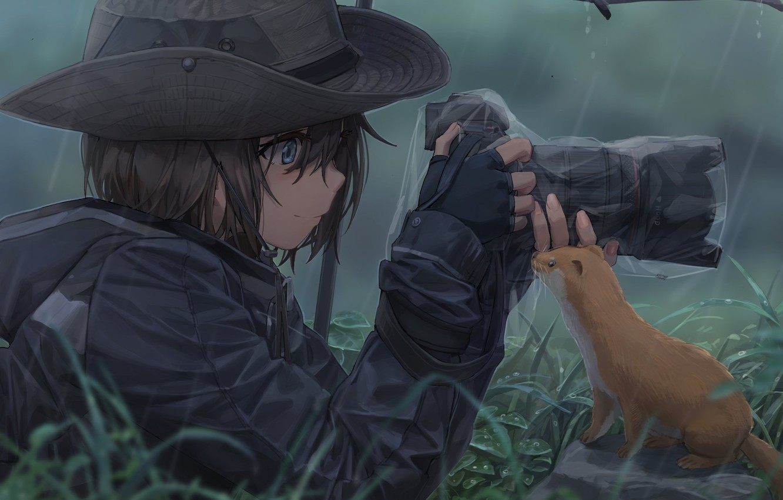 Фото обои девушка, фото, дождь, шляпа, зонт, аниме, арт, фотоаппарат, зверек, Съёмка