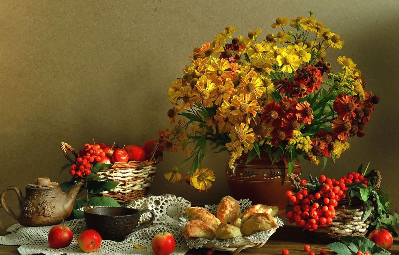 Фото обои фон, букет, фрукты, натюрморт