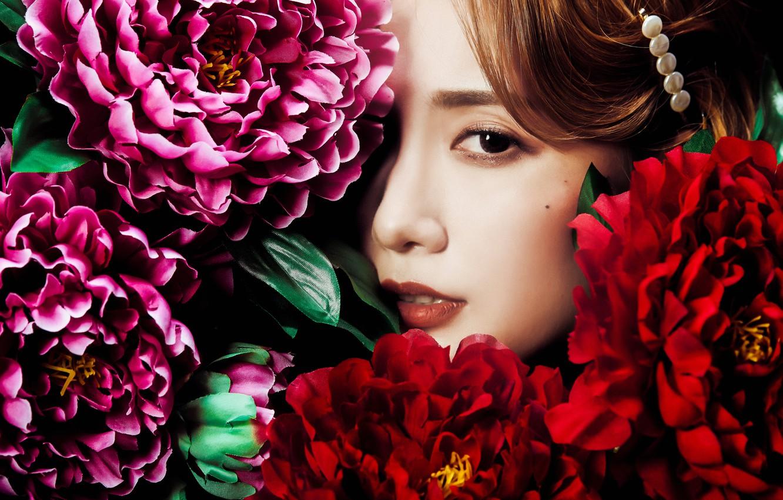 Фото обои взгляд, девушка, цветы, лицо, азиатка