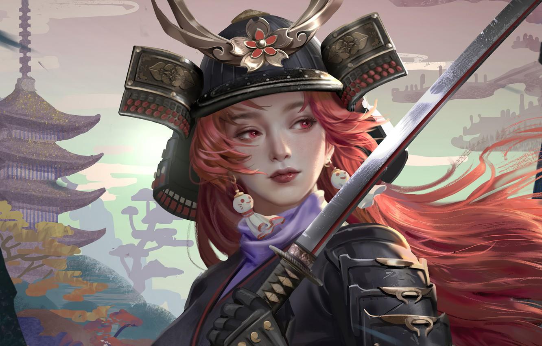 Фото обои лицо, катана, доспехи, серьги, Япония, самурай, шлем, пагода, рыжие волосы, красные глаза, samurai, девушка-воин, by …