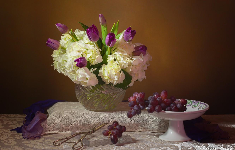Фото обои цветы, стиль, букет, тюльпаны, натюрморт, ножницы, гортензия, виногрвд