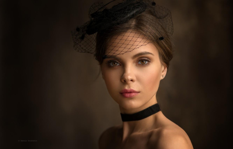Фото обои взгляд, девушка, лицо, стиль, фон, портрет, вуаль, Денис Дрожжин