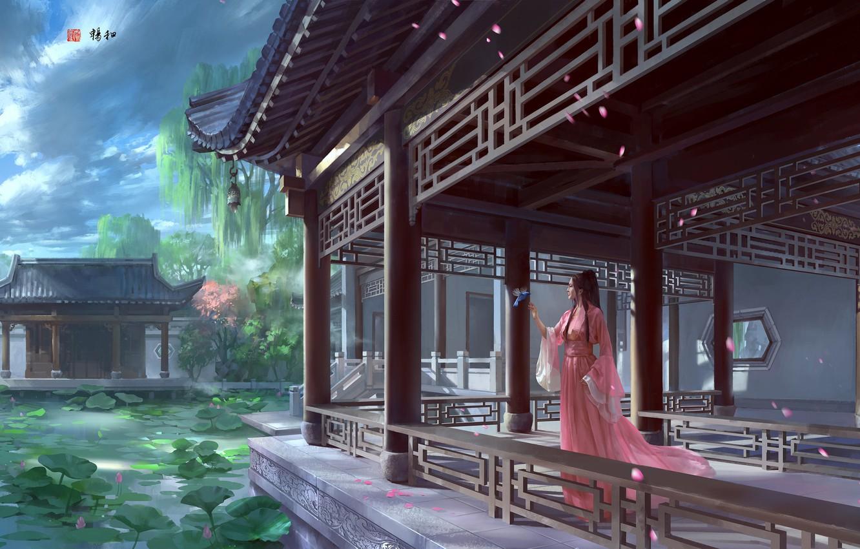 Фото обои озеро, фэнтези, арт, лотос, принцесса, дворец, zhong wenhao, 天朗气清,惠风和畅。