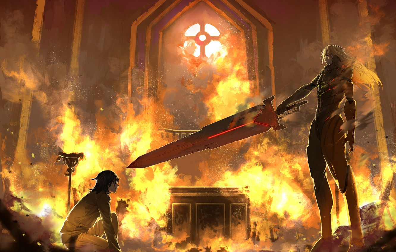 Фото обои пожар, огонь, меч, парни
