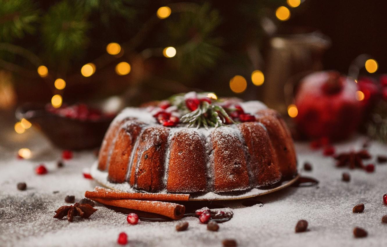 Фото обои ветки, праздник, рождество, ель, сахар, хвоя, выпечка, боке, кекс, специи, пудра