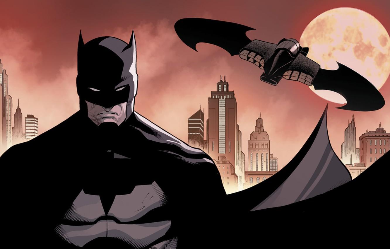 Фото обои Город, Луна, Бэтмен, Костюм, Здания, City, Герой, Маска, Moon, Плащ, Супергерой, Hero, Batman, Брюс Уэйн, …