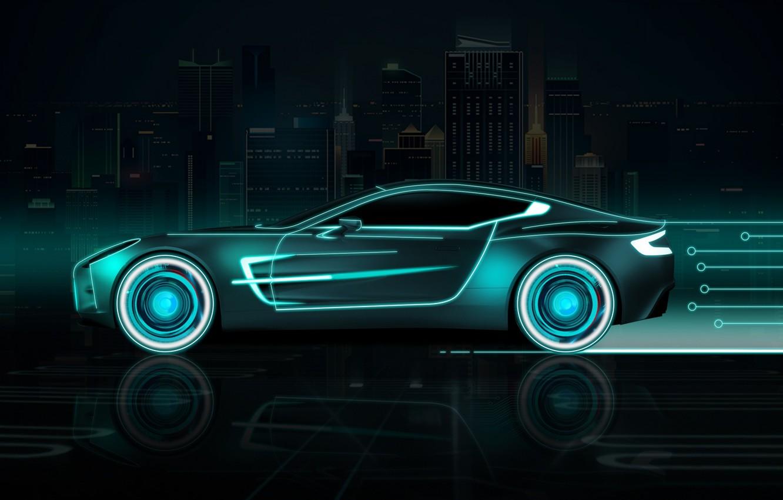 Фото обои Авто, Город, Неон, Машина, Фон, Neon, Вид сбоку, Futuresynth, Outrun, Futuristic Car