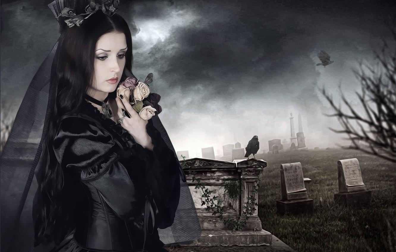 Фото обои девушка, могилы, кладбище