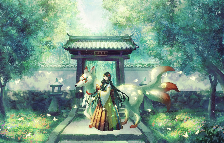 Фото обои бабочки, парк, Япония, дорожка, храм, жрица, кицунэ, демон-лис, девятихвостая лиса, ворота тории