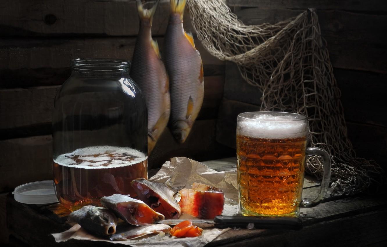 Фото обои сеть, доски, пиво, рыба, нож, кружка, банка, Сергей Фунтовой