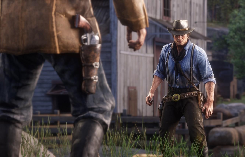 Фото обои шляпа, дуэль, оружия, Rockstar, Бандит, Red Dead Redemption 2, Arthur Morgan