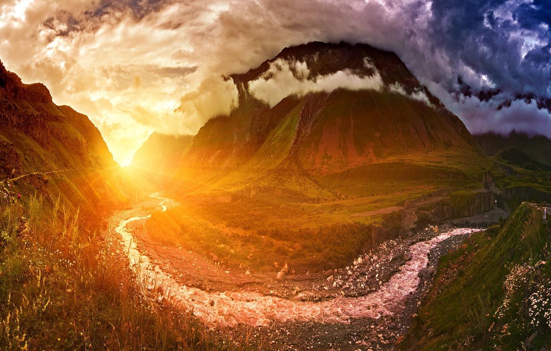 Фото обои Закат, Небо, Вода, Природа, Облака, Вечер, Горы, Восход, Гора, Утро, Рассвет, Ручей, Пейзаж, Nature, Clouds, …