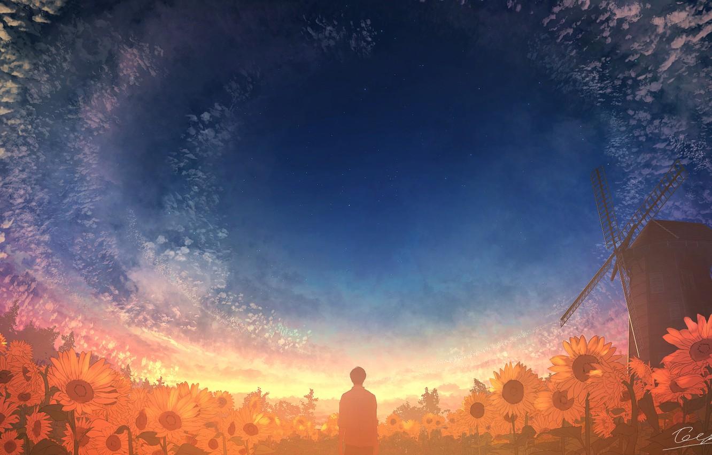 Фото обои небо, подсолнухи, природа, мельница, мужчина