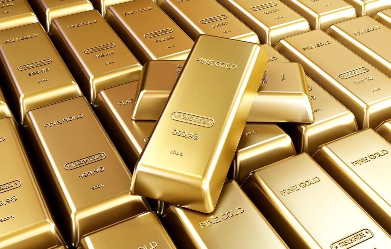 Фото обои золото, клад, слитки