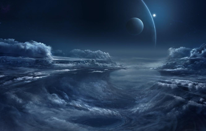 Фото обои fantasy, sky, night, clouds, planets, artist, digital art, artwork, fantasy art, illustration, Chris Goff