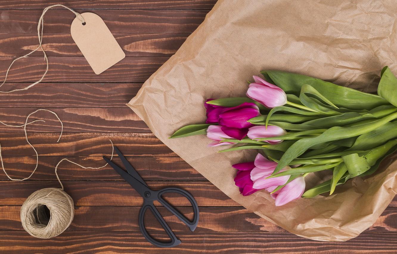 Фото обои цветы, бумага, colorful, тюльпаны, розовые, wood, pink, flowers, tulips, spring, purple