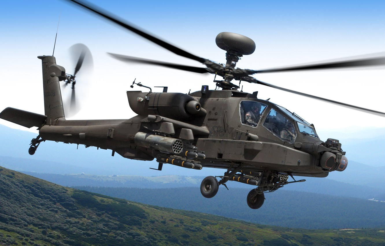 Фото обои небо, горы, вертолет, полёт, Apache, AH-64D, ударный, Longbow, McDonnel Douglas