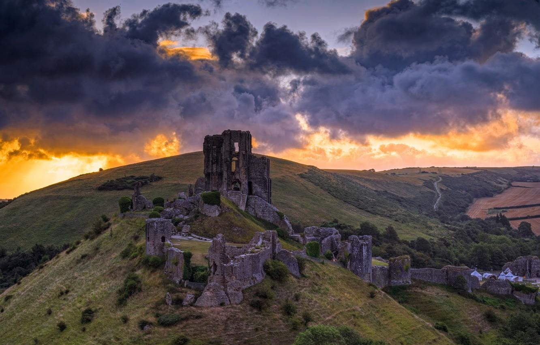 Фото обои Sunrise, Corfe Castle, Dorset