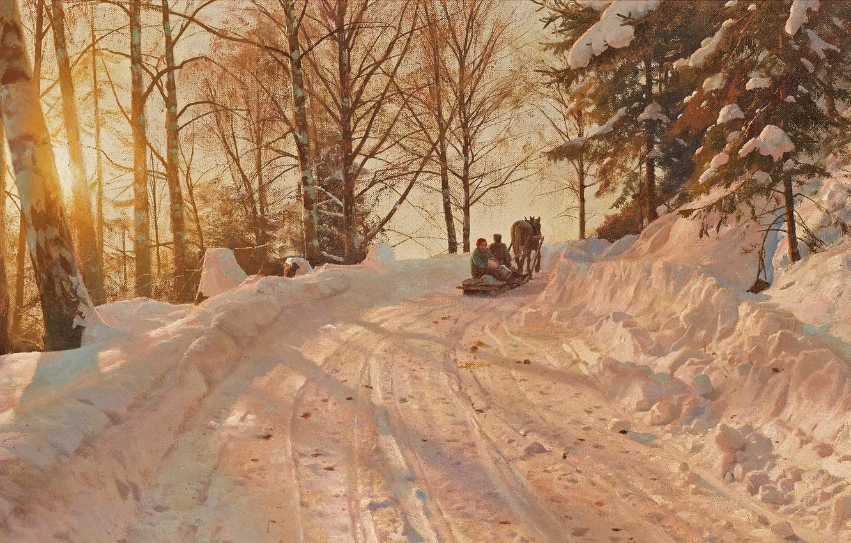 Фото обои 1918, датский живописец, Петер Мёрк Мёнстед, Peder Mørk Mønsted, Danish realist painter, Зимний пейзаж с …