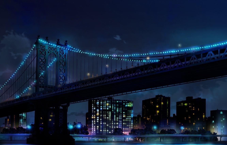 Фото обои вода, ночь, мост, город