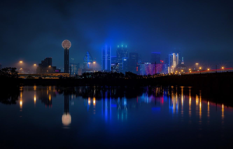 Фото обои ночь, город, панорама, Даллас, Техас, огни большого города