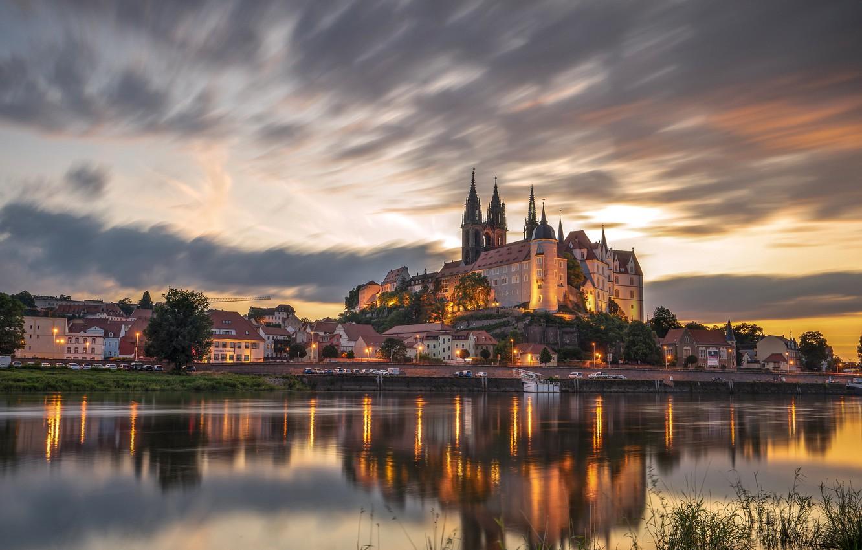 Фото обои отражение, река, замок, здания, дома, Германия, Germany, Саксония, Saxony, Майсен, Elbe River, Замок Альбрехтсбург, Albrechtsburg …