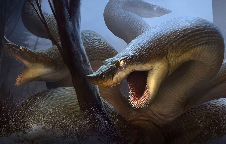 Фото обои Hydra, Лернейская гидра, RJ Palmer, водяная змея, змееподобное чудовище с ядовитым дыханием, в древнегреческой мифологии ...