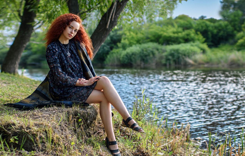 Фото обои лето, девушка, природа, река, фото, модель, платье, Павлюк Александр