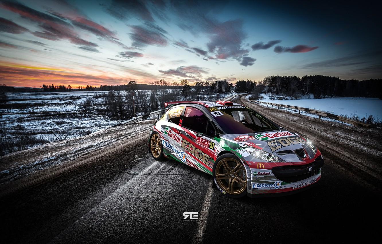 Фото обои Авто, Дорога, Спорт, Машина, Peugeot, WRC, Rally, Ралли, Рендеринг, Concept Art, Peugeot 207, Transport & …