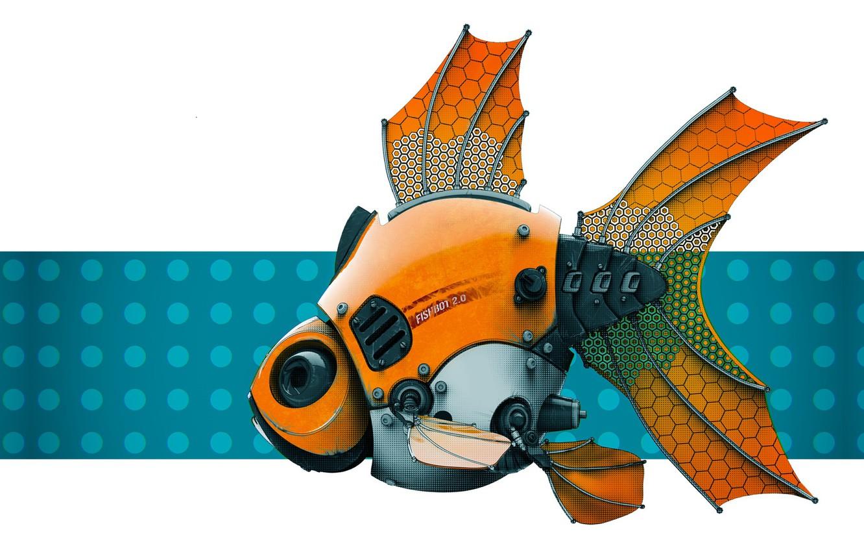 Фото обои робот, рыбка, Stephen Anderson, FishBot 2.0 - Render