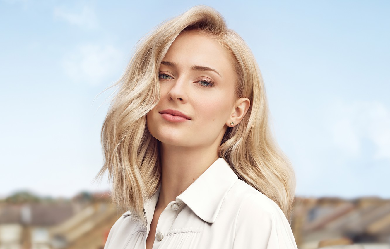 Фото обои взгляд, девушка, лицо, актриса, блондинка, красивая, Sophie Turner