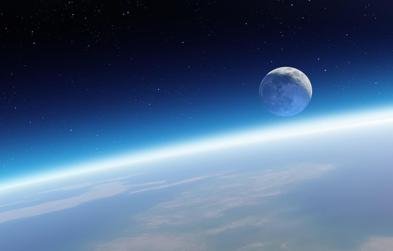 Фото обои космос, луна, планета, спутник, звёзды, горизонт, Земля, орбита