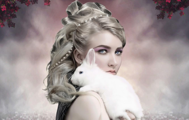 Фото обои взгляд, девушка, кролик